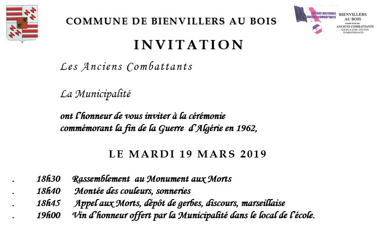 INVITATION CEREMONIE DU 19 MARS 2019