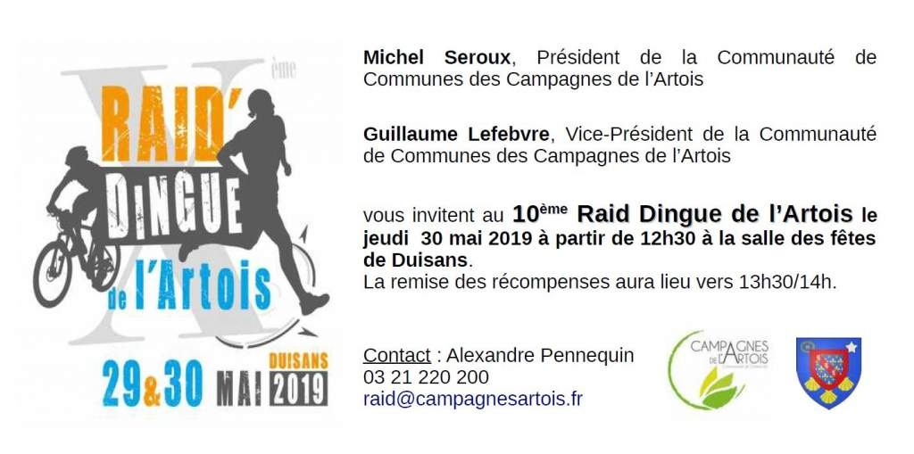 Invitation Raid Dingue de l'Artois 2019