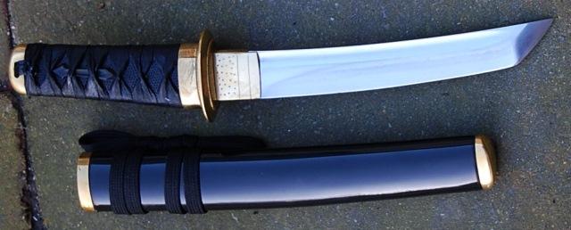 Tanto lame de 19.5 cm forgé en XC 75 avec trempe selective